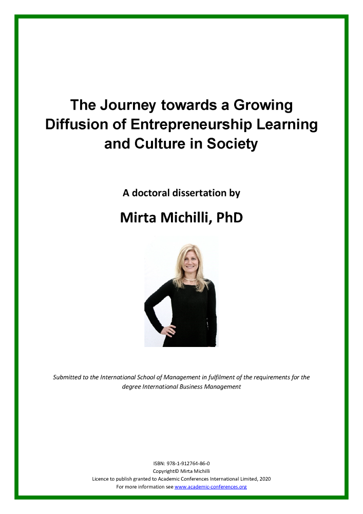 The Journey towards a Growing Diffusion of Entrepreneurship Learning and Culture in Society