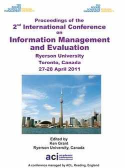 ICIME 2011 2nd International Conference on Information Management and Evaluation - Toronto, Canada