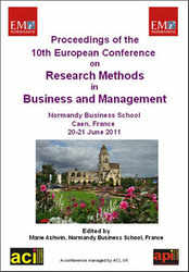ECRM 2011 - 10th European Conference on Research Methods for Business and Management Studies - Caen, France. PRINT version