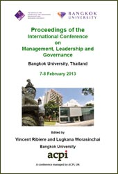 <!--200-->ICMLG 2013 International Conference on Management, Leadership and Governance, Bangkok, Thailand  PRINT version ISBN: 978-1-909507-00-5 ISSN: