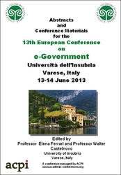 <!--175-->ECEG 2013 13th European Conference on eGovernment, Como, Italy PRINT version