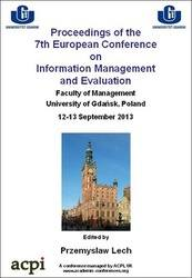 <!--165-->ECIME 2013 7th Europen Conference on IS Management and Evaluation PRINT version