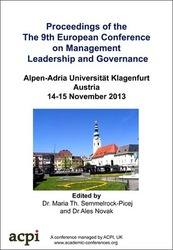 <!--153-->ECMLG 2013 9th European Conference on Management Leadership and Governance PRINT version