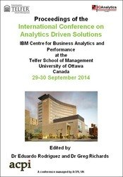 <!--078--> ICAS 2014 International Conference on Analytics Driven Solutions ICAS 2014 Ottawa, Canada PRINT version