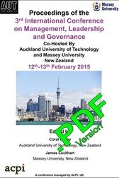 ICMLG 2015 3rd International Conference on Management Leadership and Governance Auckland, New Zealand  PDF version ISBN: 978-1-910309-86-5