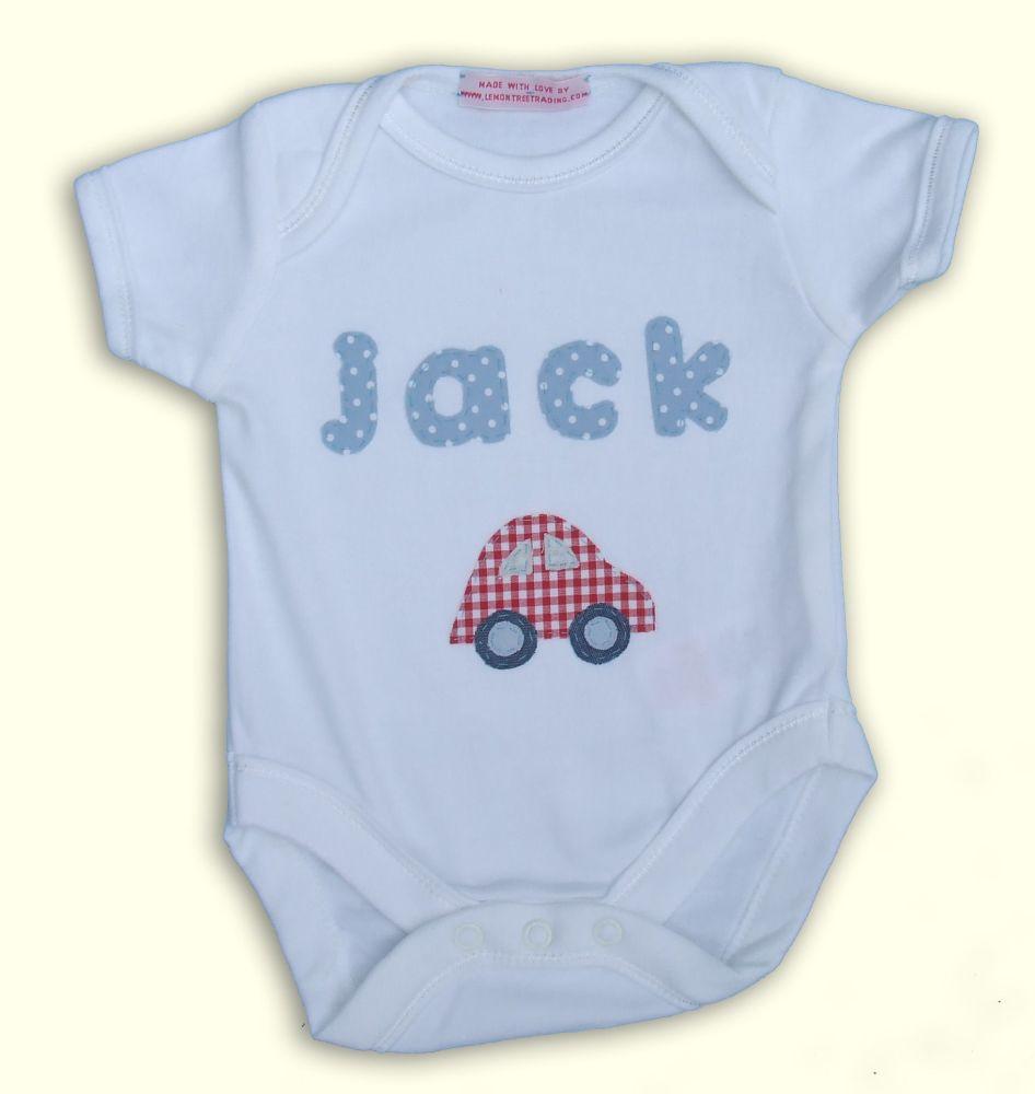 Boys personalised baby grow