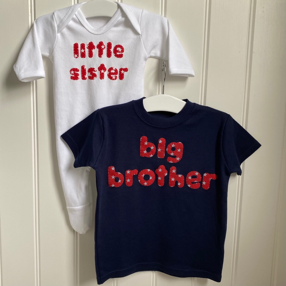 Big brother/sister T-shirt with little brother/sister rompersuit