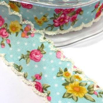 25mm Crochet Edge Roses Ribbon - Light Blue