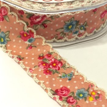 25mm Crochet Edge Roses Ribbon - Peach