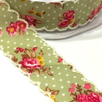 25mm Crochet Edge Roses Ribbon - Sage Green