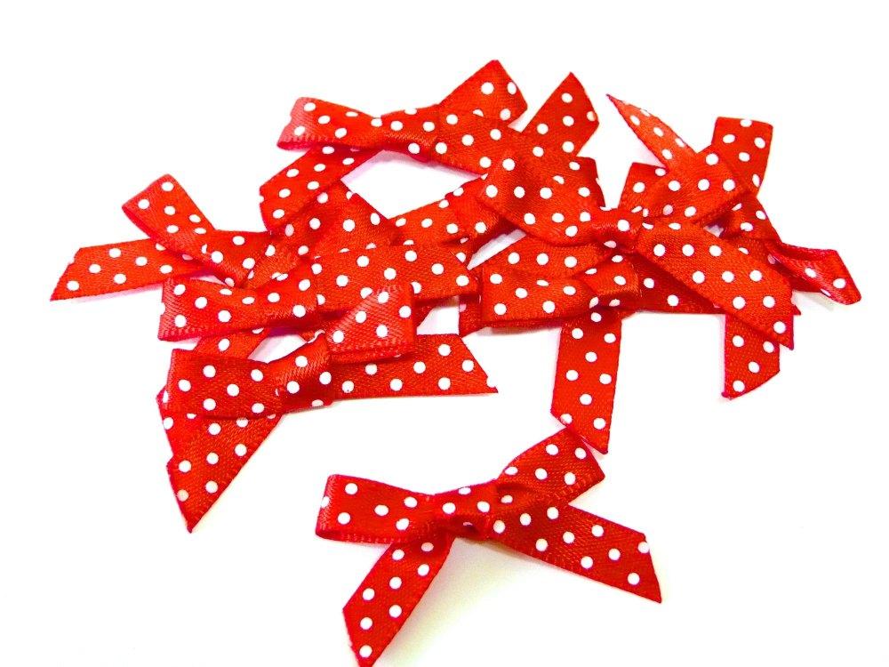 Satin Mini Polka Dot Bows - Red