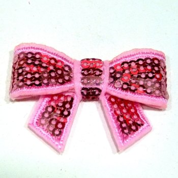 SALE Mini Sequin Bow - Pink
