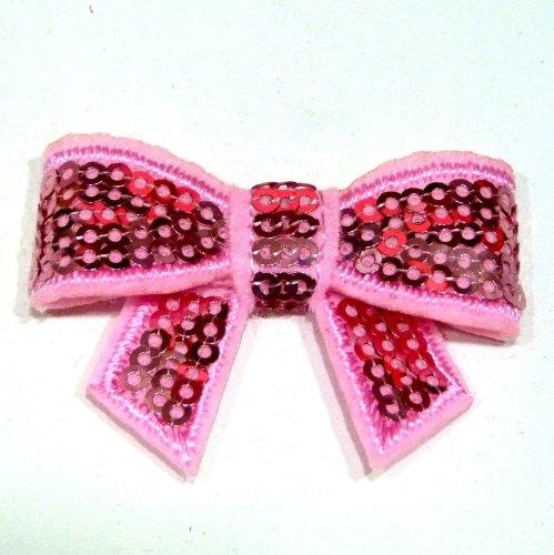 Mini Sequin Bow - Light Pink