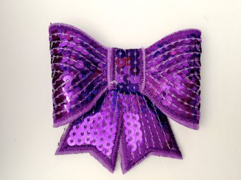 70mm Sequin Bow - Purple