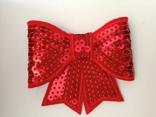 70mm Sequin Bow - Red