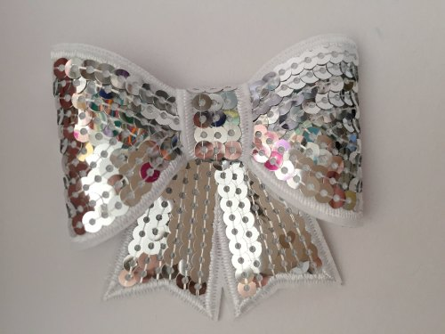70mm Sequin Bow - Silver