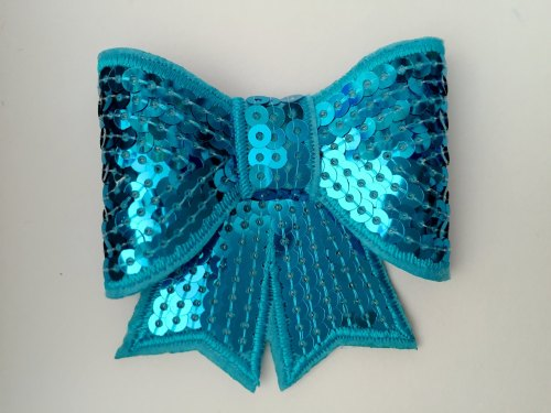 70mm Sequin Bow - Turquoise