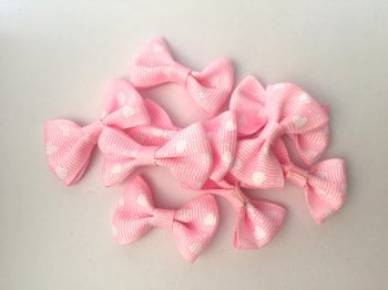 SALE Mini Heart Print Bows - Light Pink