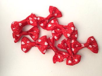 SALE Mini Heart Print Bows - Red