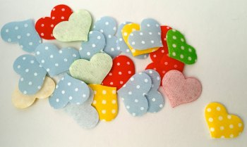 SALE 25 x Appliqué Polka Dot Hearts