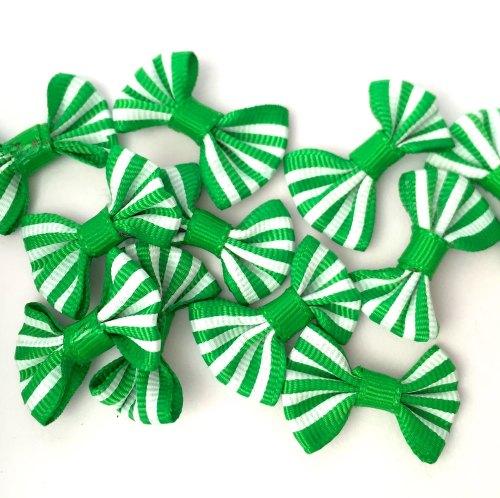 Candy Stripe Grosgrain Bow - Green