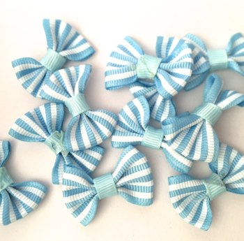 SALE Candy Stripe Grosgrain Bow - Light Blue