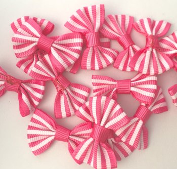 SALE Candy Stripe Grosgrain Bow - Pink