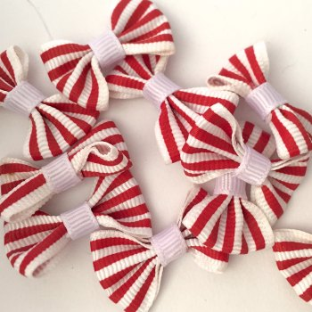 SALE Candy Stripe Grosgrain Bow - Red