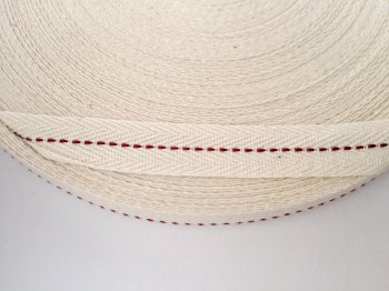 15mm Rustic Herringbone Centre Stitch - Claret