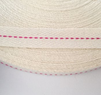 15mm Rustic Herringbone Centre Stitch - Fuchsia