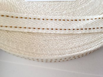 15mm Rustic Herringbone Saddle Stitch - Antique Gold
