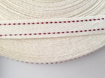 15mm Rustic Herringbone Saddle Stitch - Claret