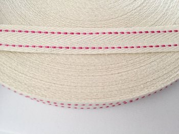 15mm Rustic Herringbone Saddle Stitch - Fuchsia