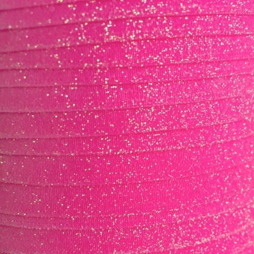 Fold Over Elastic - Plain Glitter - Hot Pink