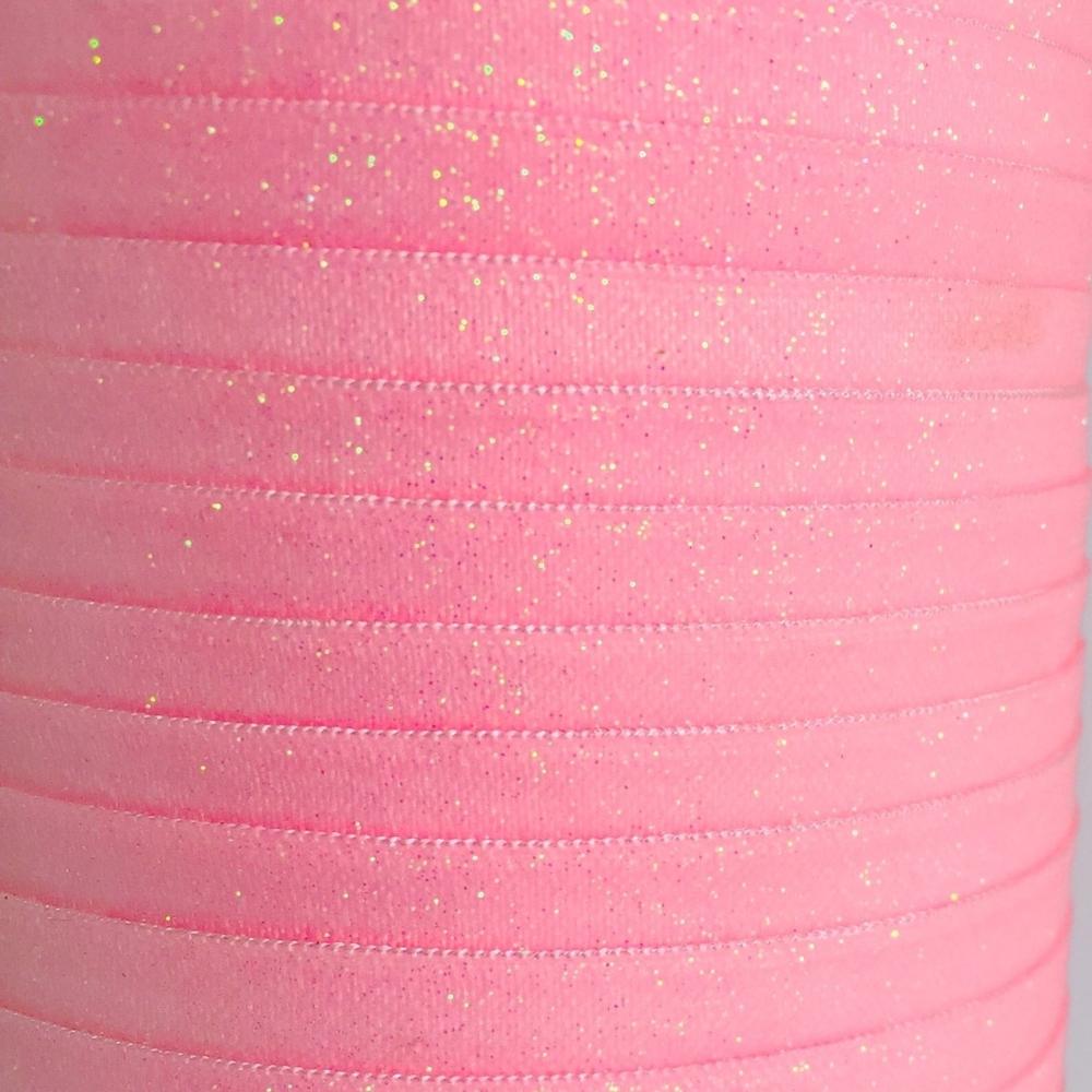 Fold Over Elastic - Plain Glitter - Pink