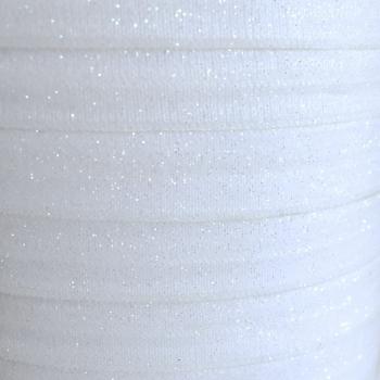 Fold Over Elastic - Glitter - White