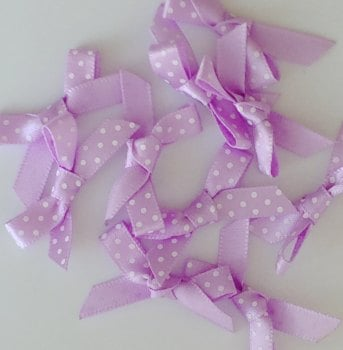 SALE Satin Mini Polka Dot Bow - Lilac