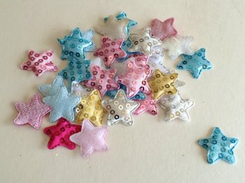 SALE 20 x 25mm Padded sequin stars
