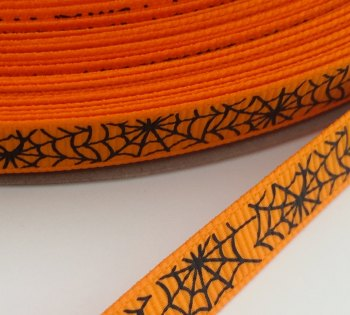 9mm Cobweb Ribbon - Orange