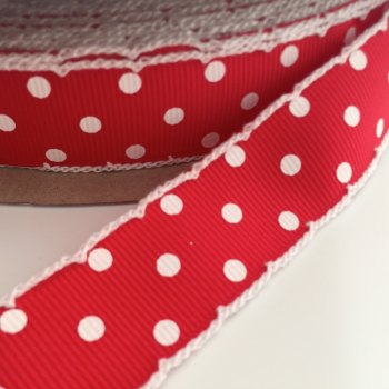 25mm Crochet Edge Polka Dot Ribbon - Red