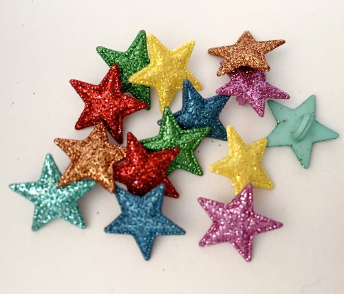 Colourful Glitter Stars Button Pack