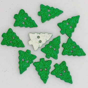 Pack of 5 - 20mm Glitter Christmas Tree Button - Green