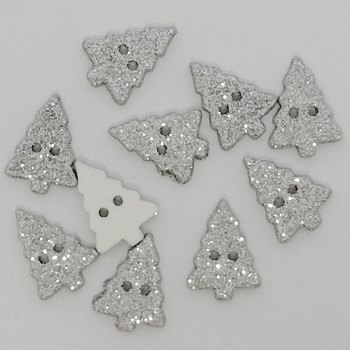 Pack of 5 - 20mm Glitter Christmas Tree Button - Silver