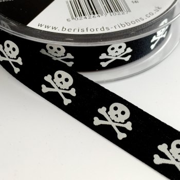 15mm Skull and Crossbones Ribbon - Black