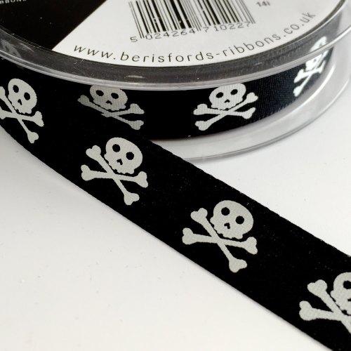 15mm Skull and Crossbones Ribbon - Black
