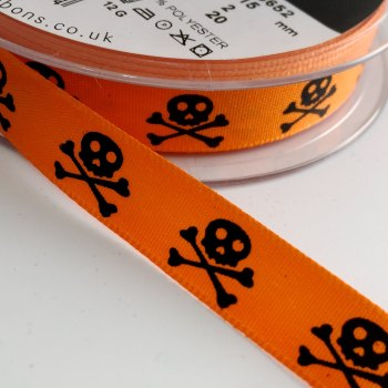 15mm Skull and Crossbones Ribbon - Orange