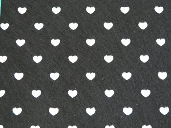 Acrylic Patterned Felt Sheet - Hearts - Black