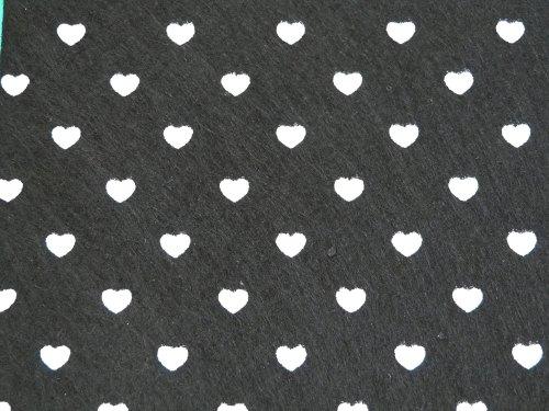 Patterned Felt - Hearts - Sheet - Black