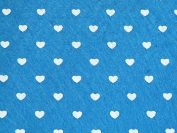 Acrylic Patterned Felt Sheet - Hearts - Blue