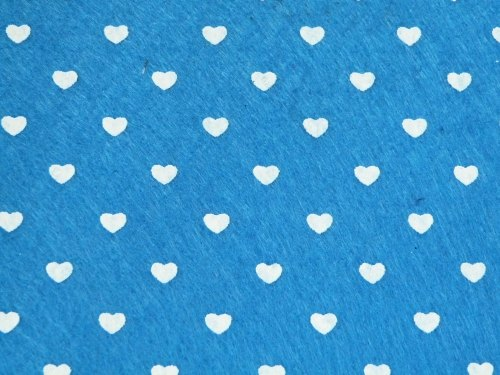 Patterned Felt - Hearts - Sheet - Blue